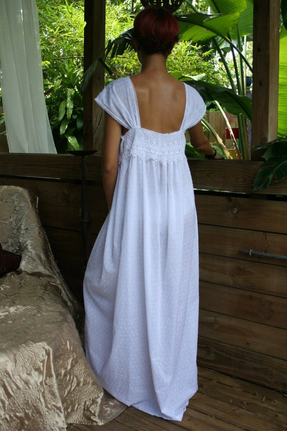 Limited Edition White Cotton Nightgown Dotted Swiss Cotton