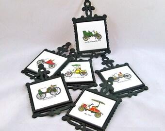 Set of 6 Vintage ARDCO Collector Antique Automobile Trivets, Coasters