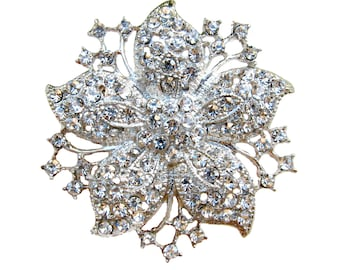 2 Rhinestone Brooch Flower Vintage Style - Wedding Hair Accessories Shoe Clip Gift Box Ring Pillow BRO-011 (55mm or 2.2inch)