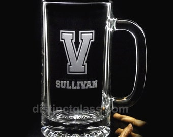 Gifts for Best Man - Single INITIAL SPORTY MONOGRAM Beer Mugs - Monogram Etched Beer Mugs