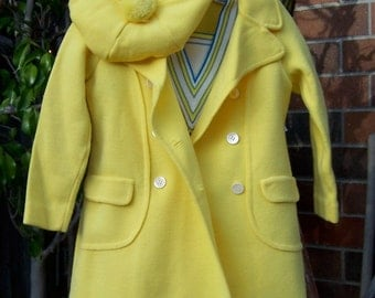 Vintage Knit girls dress with matching coat and hat.