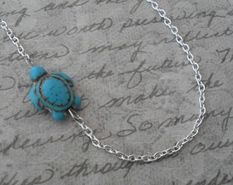 turquoise turtle necklace on silver - sea turtle necklace