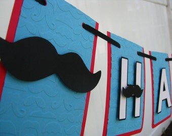 Mustache Happy Birthday Banner - MADE TO ORDER