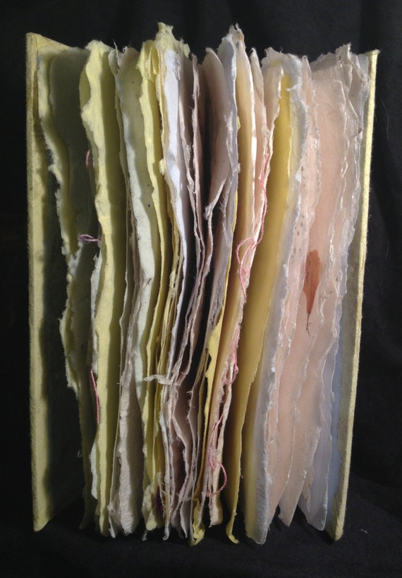 Yellow and Blue Art Journal with Handmade Paper