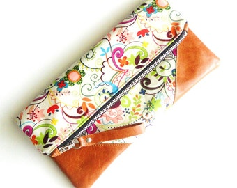 Floral Delight Zippered Pouch/Clutch Brown