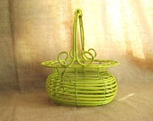 Cool Country Chic Basket in Chartreuse / Wood and Metal Basket in Cool Key Lime Green