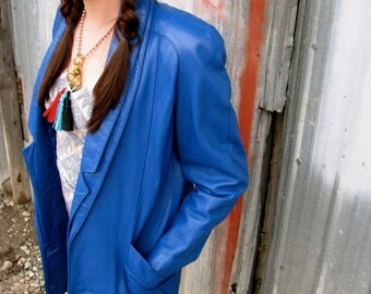 Vintage 1980s Bright BLUE LEATHER COCOON Jacket Coat Peter Caruso Original