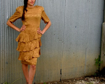 Vintage 1980s Gold SILK Dress with Ruffled Skirt