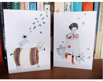 Greeting cards 4x6 Dog barking at leaves and Mimi and Topsy Dog