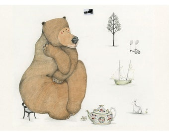 Bear Print Bear Giclee Print 8x11 The Thinker
