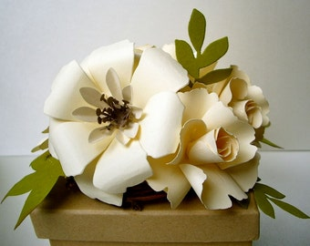 6 Small handmade paper flower centerpieces - made to match your style and color scheme