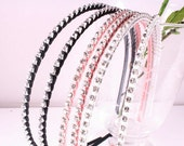 6PCS-4MM Handmade Metal Headband wrapped with Satin Ribbon,Cubic (G126)