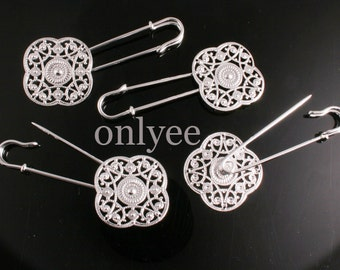 5pcs-72mmX28mm Rhodium plated  Brooch.With round brooch pin, collet  Brooch With Filigree (E304)