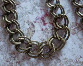 Double Link Chain in Antiqued Brass - 10mm - Smooth & Textured Links - 43 inches