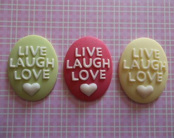 Green, Pink or Yellow Resin Cameo Cabochon with Text LIVE LAUGH LOVE & Heart 40mm X 30mm - Qty 2