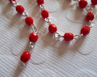 Bead Chain Opaque Red 4mm Fire Polished Glass Beads on Silver Beaded Chain - Qty 18 inch strand