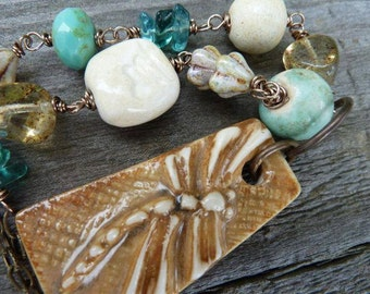 Golden Dragonfly Ceramic Pendant with Ceramic, Czech Glass and Stones on Brass Chain