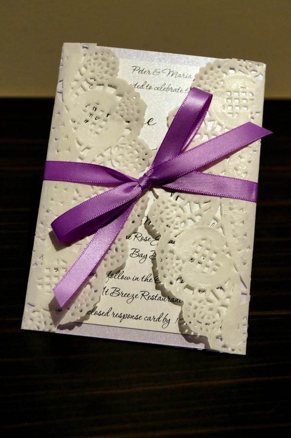 Items Similar To Rustic Lilac Wedding Invitation SAMPLE Paper Doily Doilies Recycled Card On Etsy
