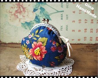 Blue bloom Metal frame purse/coin purse / Coin Wallet /Pouch / Kiss lock frame bag-GinaHandMade