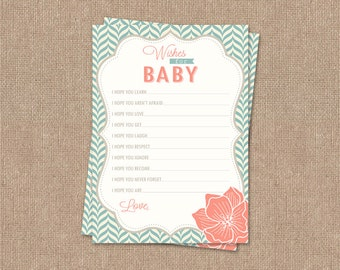 Wishes for Baby Card - Printable - Modern Pattern - Aqua & Coral