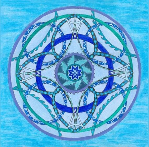The Water Element Mandala Painting - Fine Art Signed Print - Mandalamagic1 Original Mandala Art - Canvas Art - Geometric Art -Wall Art