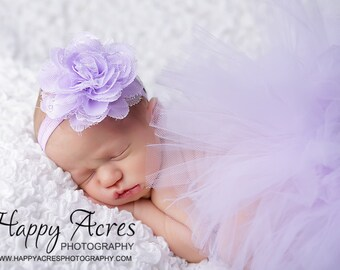LAVENDER tutu....newborn tutu, baby tutu with matching headband, newborn photography ....birthday tutu