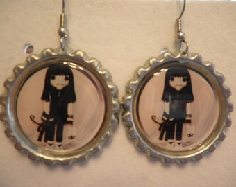 Gothic Doll with Black Cat Earrings