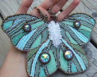 Green Butterfly Art - butterfly wall art - home decor - fantasy art - bead art - bead embroidery - green - blue - aqua