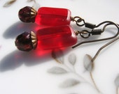 Cranberry Red Tablet Bead Earrings