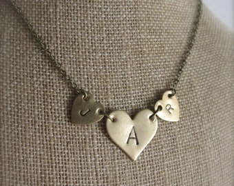 Three Initial Necklace Mommy Jewelry Initial Jewelry Personalized Necklace Heart Necklace Heart Jewelry Personalized Jewelry