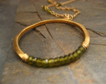 Crescent pendant with olive green idocrase - vermeil and goldfilled