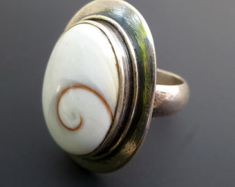 Custom Made Sterling Silver Shiva Eye Ring - White Shell Silver Ring - Shell Spiral Ring - Made to Order