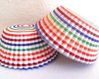 100 Rainbow Stripe Standard Cupcake Liners Muffin Baking Cups