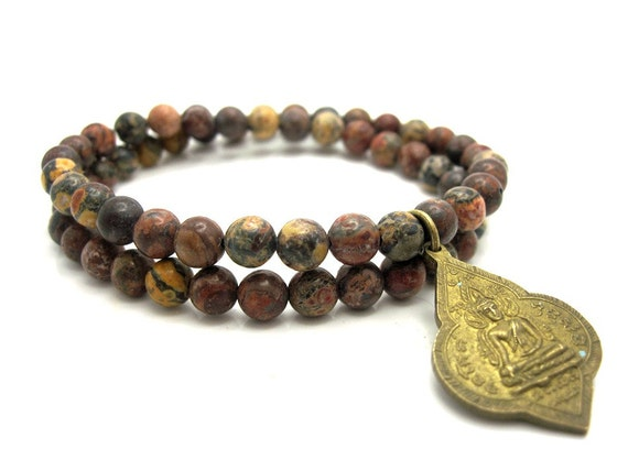 Natural Leopard Jasper Energy Bracelet with Vintage Buddha Charm