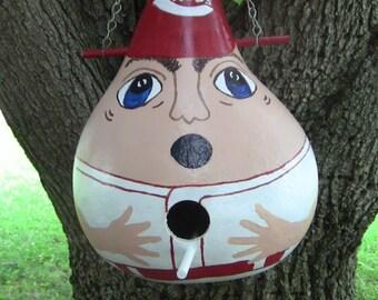 Cincinatti  Baseball Player Birdhouse Gourd
