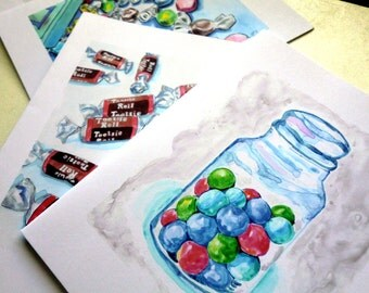 Gumballs Taffy Tootsie Rolls and Marshmallows Candy Watercolor Art Notecards (Ed. 3), Set of 12