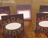 Chalkboard Doodle Collection: Set of 9 Food/Name/Activity Tents. Blank center, you fill in with your items.