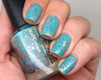 "Nail polish - ""Serenity"" copper, turquoise and lavender glitter in a green base"