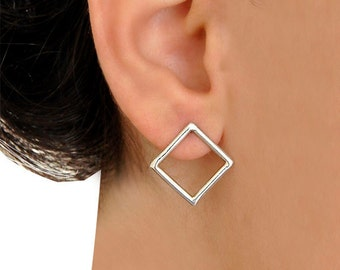 Square Earrings- Sterling Silver- Free Shipping