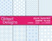 Digital Paper Pack: Geometric Patterns - Pale Blue INSTANT DOWNLOAD