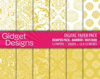 Yellow Mustard Digital Paper Pack Damask Patterns Bamboo Mustard Yellow Scrapbook Paper Printable Paper