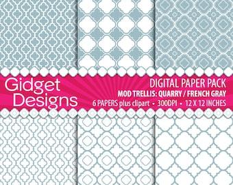 Gray Digital Paper Pack Quatrefoil Patterns Clip Art Free For Commercial Use