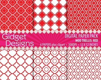 Red Digital Paper Pack Quatrefoil Clip Art Free for Commercial Use