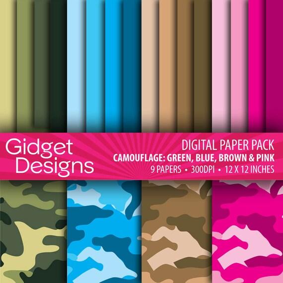 Camouflage Digital Paper Pack in Green, Blue, Brown, Pink INSTANT DOWNLOAD  Military Veterans Memorial