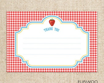 Picnic Strawberry Gingham Thank You Card Design by FLIPAWOO  - Instant Download Printable PDF File