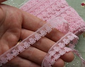 one yard adorable vintage cotton tiny picot lace made in Germany 1950s trim new old stock pink