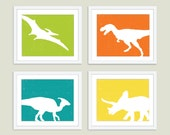 Dinosaur Digital Prints - Set of Four - Wall Art - Modern - Green Orange Teal Yellow - Boys Bedroom Playroom - Natural history