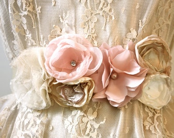 Organza Rose Flower Wedding Bridal Sash in Champagne, Blush and Ivory