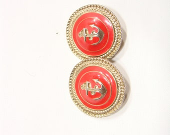 Vintage Sailor Red and Gold Circle Clip On Earrings