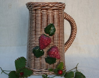 Amazing Vintage Japanese Majolica Strawberry Pitcher, Basket Weave Pattern Strawberries Summer Fruit Berries